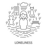 Banners for loneliness. Linear banners for mental disorders loneliness. Mental health vector illustration stock illustration