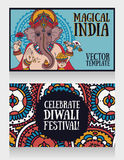 Banners with Lord Ganesha and ethnic ornament Stock Images