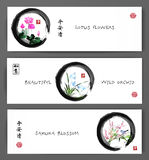 Banners with lotus flowers, wild orchid and sakura blossom in zen circle. Oriental painting sumi-e, u-sin, go-hua Royalty Free Stock Photos