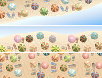 Banners of many parasols on beach. Stock Image