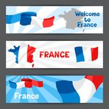 Banners with map and flag of France. Patriotic illustration Stock Photos