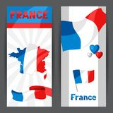 Banners with map and flag of France. Patriotic illustration Stock Image