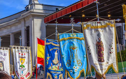 Banners May 13 Mary Appearance Day Basilica of Lady of Rosary Fatima Portugal Stock Image