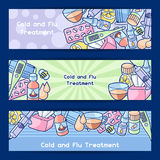 Banners with medicines and medical objects. Treatment of cold and flu Royalty Free Stock Images