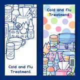 Banners with medicines and medical objects. Treatment of cold and flu Stock Image