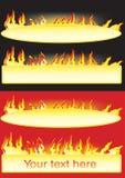 Banners met de vlam Stock Fotografie
