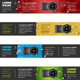 Banners met fotocamera die worden geplaatst Royalty-vrije Stock Foto