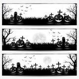 Banners met Halloween-pompoenen Royalty-vrije Stock Afbeelding