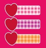 Banners met harten Stock Afbeelding