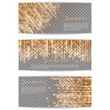 Banners met heldere gouden stralen stock illustratie