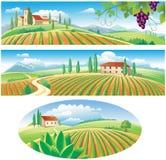 Banners met het landbouwlandschap Royalty-vrije Stock Afbeeldingen
