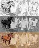 Banners met het lopen paard op grunge bacground Royalty-vrije Stock Afbeeldingen