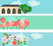 Banners met illustraties Stock Foto's