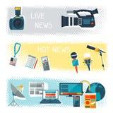 Banners met journalistiekpictogrammen Royalty-vrije Stock Afbeelding