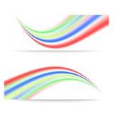 Banners met kleurrijke abstracte golven Stock Foto's