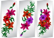 Banners met kleurrijke bloemen royalty-vrije illustratie