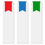 Banners met kleurrijke linten Stock Foto's