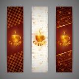 Banners met koffiekop Royalty-vrije Stock Afbeelding
