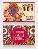 Banners met Lord Ganesha en etnisch ornament Stock Afbeelding