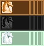 Banners met paardhoofd Royalty-vrije Stock Afbeeldingen