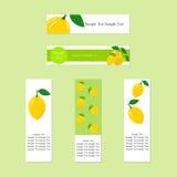 Banners met Rijp Sappig Citroenfruit Stock Afbeelding