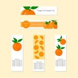 Banners met Rijp Sappig Oranje Fruit Stock Afbeelding