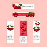 Banners met Sappig Rijp Cherry Fruit voor Bedrijven Royalty-vrije Stock Afbeelding