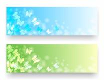 Banners met vlinders stock illustratie