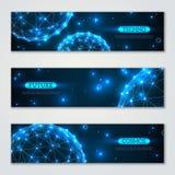 Banners met wireframe veelhoekige elementen dat worden geplaatst Stock Afbeeldingen