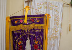 Banners for Mexican Catholic procession Stock Images