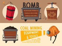 Banners with mining tools. Worker`s inventory. Cartoon vector illustration. Coal mining theme. Hard work Royalty Free Stock Images
