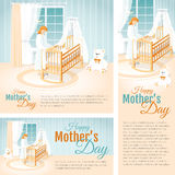 Banners with the Mother and the Child in the Cot. Happy Mother`s Day. Stock Photos