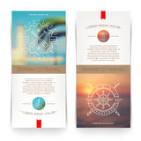 Banners with Nautical and travel signs and emblems Royalty Free Stock Photography