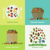 Banners with nuts and berries. Vector illustration. Banners with nuts and berries in flat style. Set of vector illustration concept healthy food royalty free illustration