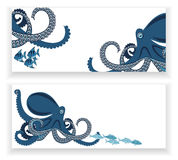 Banners with octopus and fish. Octopus and fish, two banners, underwater inhabitants, template, vector illustration Royalty Free Stock Photography