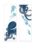 Banners with octopus and fish. Octopus and fish, two banners, underwater inhabitants, template, vector illustration Stock Photos