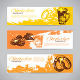 Banners of Oktoberfest beer design. Hand drawn Stock Photography
