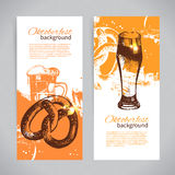 Banners of Oktoberfest beer design. Hand drawn Stock Photo