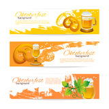 Banners of Oktoberfest beer design. Hand drawn Royalty Free Stock Photos