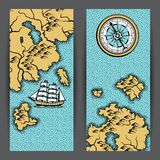 Banners with old nautical map. Islands, ships and vintage retro compass Stock Photography