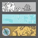 Banners with old nautical map. Islands, ships and vintage retro compass Royalty Free Stock Image