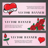 Banners in the old school style for the Wedding Stock Images