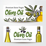 Banners with olive tree branches, oil bottles and place for text Royalty Free Stock Images
