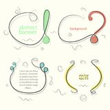 Banners with one line, with exclamation and question marks, inverted commas and brackets - vector.  Royalty Free Stock Photo