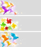 Banners with origami Stock Image