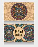 Banners with ornamental Mayan zodiac Stock Image