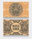 Banners with ornamental Mayan zodiac Stock Photo