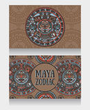 Banners with ornamental Mayan zodiac Royalty Free Stock Photography