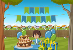 Banners over cartoon boy at a birthday party Royalty Free Stock Photo