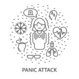 Banners for panick attack. Linear banners for Panic attack. Mental health composition vector illustration stock illustration